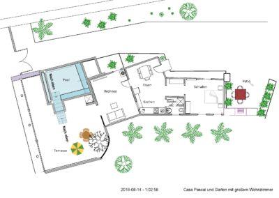 9999 Casa Pascal Grundriss, Garten mit großem Wohnzimmer